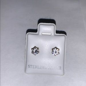 Sterling silver earrings studs solitaire